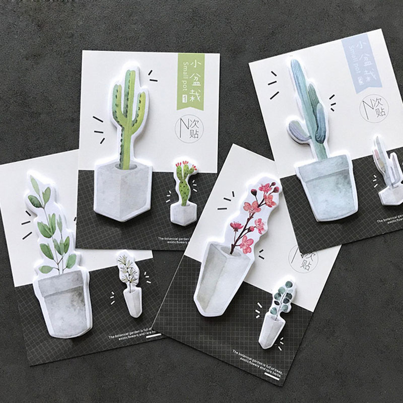 4pcs/lot Cute small pot memo pad cactus plants paper sticky notes post notepad stationery papeleria school supplies kids gift