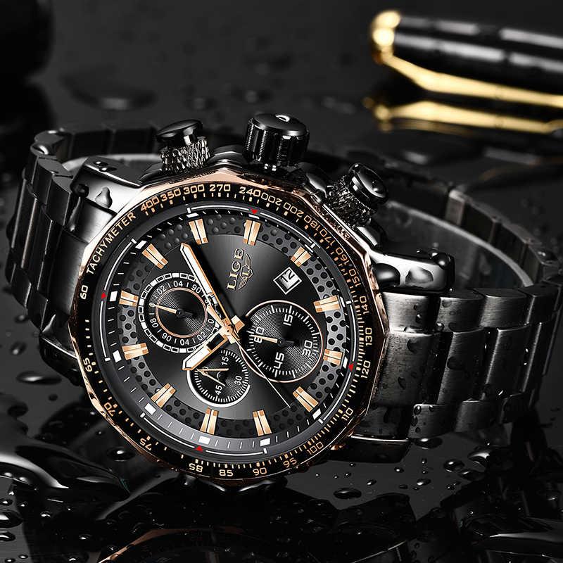 Neue 2019 LIGE Herren Uhren Top Brand Luxus Sport Quarz Alle Stahl Männliche Uhr Military Wasserdicht Chronograph Relogio Masculino