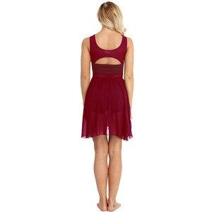 Image 3 - Women Adult Ballet Dress Ballet Leotards for Women Sleeveless Cut Out Asymmetric Chiffon Ballet Dance Gymnastics Leotard Dress