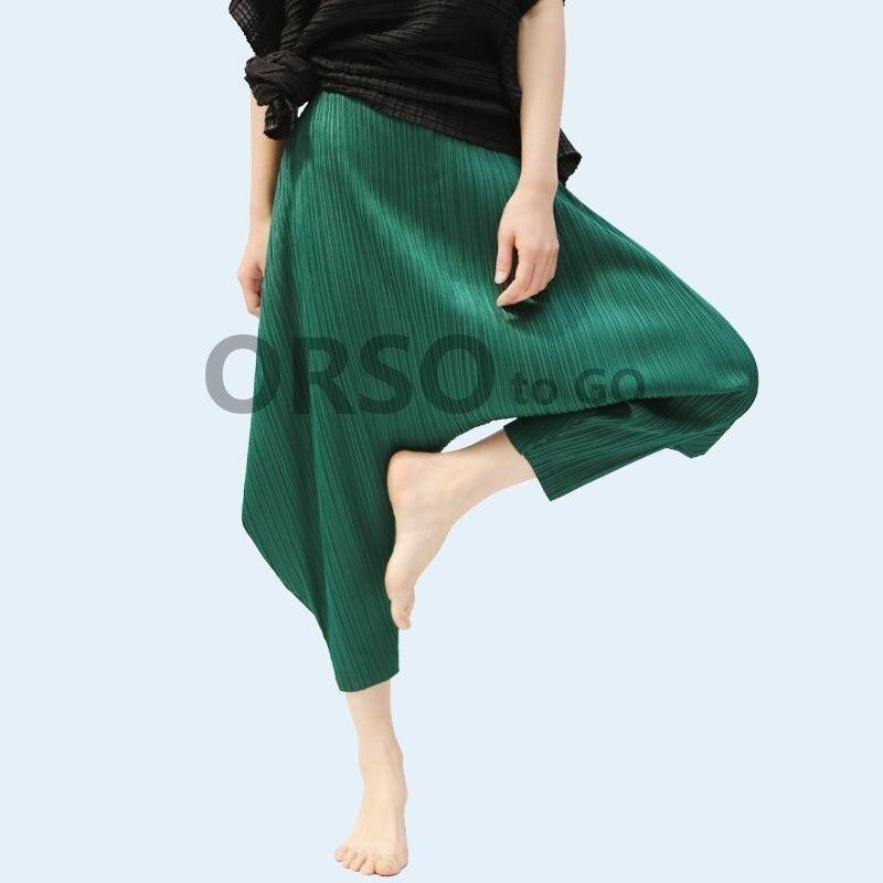 Azterumi Pieghe Donne di Estate della Molla A Vita Alta Pantaloni stile harem Loose Women Casual Pantaloni A Pieghe Pantaloni Grigio Giallo Rosso Nero-in Pantaloni e pinocchietto da Abbigliamento da donna su  Gruppo 1