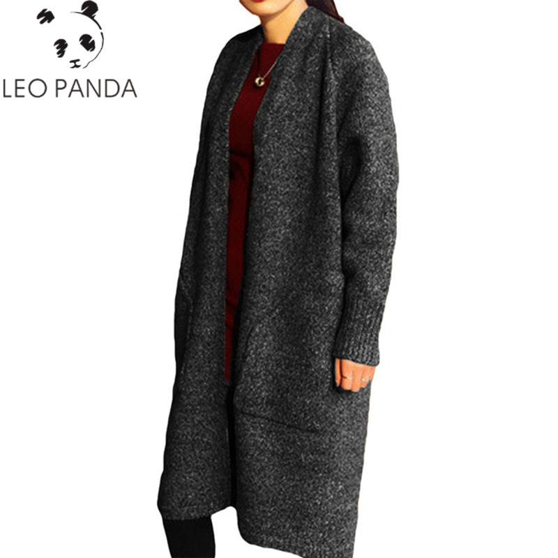 Autumn Winter Long Cardigan 2018 Women Sweater Open Stitch Vintage Sweater Loose Warm Long Knitted Cardigans Warm Outwears HF463