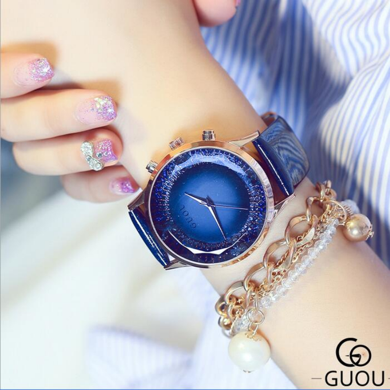 GUOU Luxury Diamond Watch Women Watches Genuine Leather Ladies Watch Glitter Women's Watches saat relogio feminino reloj mujer guou ladies watch fashion color stone glitter women watches luxury genuine leather diamond watch reloj mujer relogio feminino