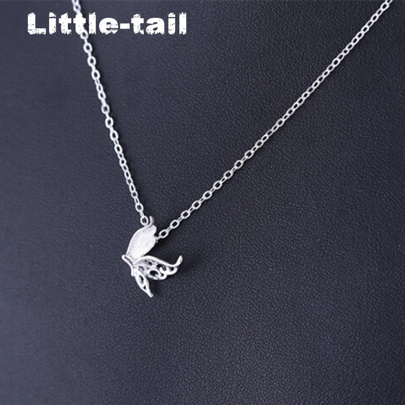 2017 new listing Korean version of the 925 butterfly hollow silver pendant necklace accessories women fashion