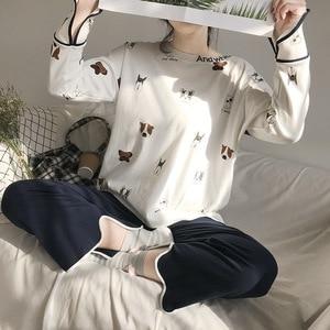 Image 5 - New 100% Cotton Long Sleeved Ladies Pajamas Set Pyjamas for Women Pijama Mujer Cartoon Dog Print Sleepwear Homewear Nightgown
