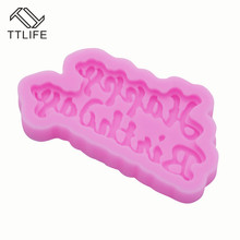 TTLIFE 3D Happy Birthday Letters Silicone Mold Ice Jelly Chocolate Pastry Baking Moulds Cake Decorating Tools