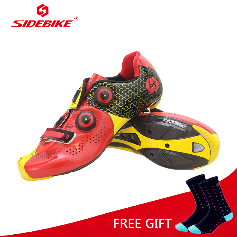 Sidebike Ultralight Carbon Fiber Cycling Shoes Breathable Road Bike Self-Locking Bicycle Shoes Athletic Triathlon Racing Sneaker sidebike mtb bike shoes carbon fiber cycling shoes men breathable non slip self locking road bike shoes bicycle sneaker shoes