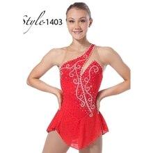 女性レッドカラーフィギュアスケート競技ドレスため競争DR2563