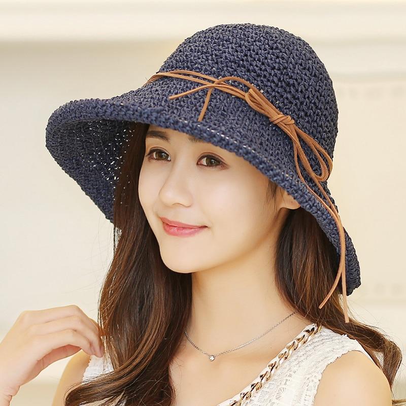 Verano Sombreros de Paja Moda Mujer Sombrero Floppy de Ala Ancha - Accesorios para la ropa - foto 3