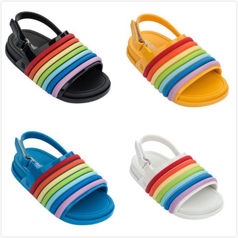 Mini Sapatos Sandálias Da Geléia de Melissa 2019 Meninas novas Do Bebê Das Meninas Dos Meninos Sandálias Rainbow Listrado Anti-Skid Sapatos Sandálias de Praia