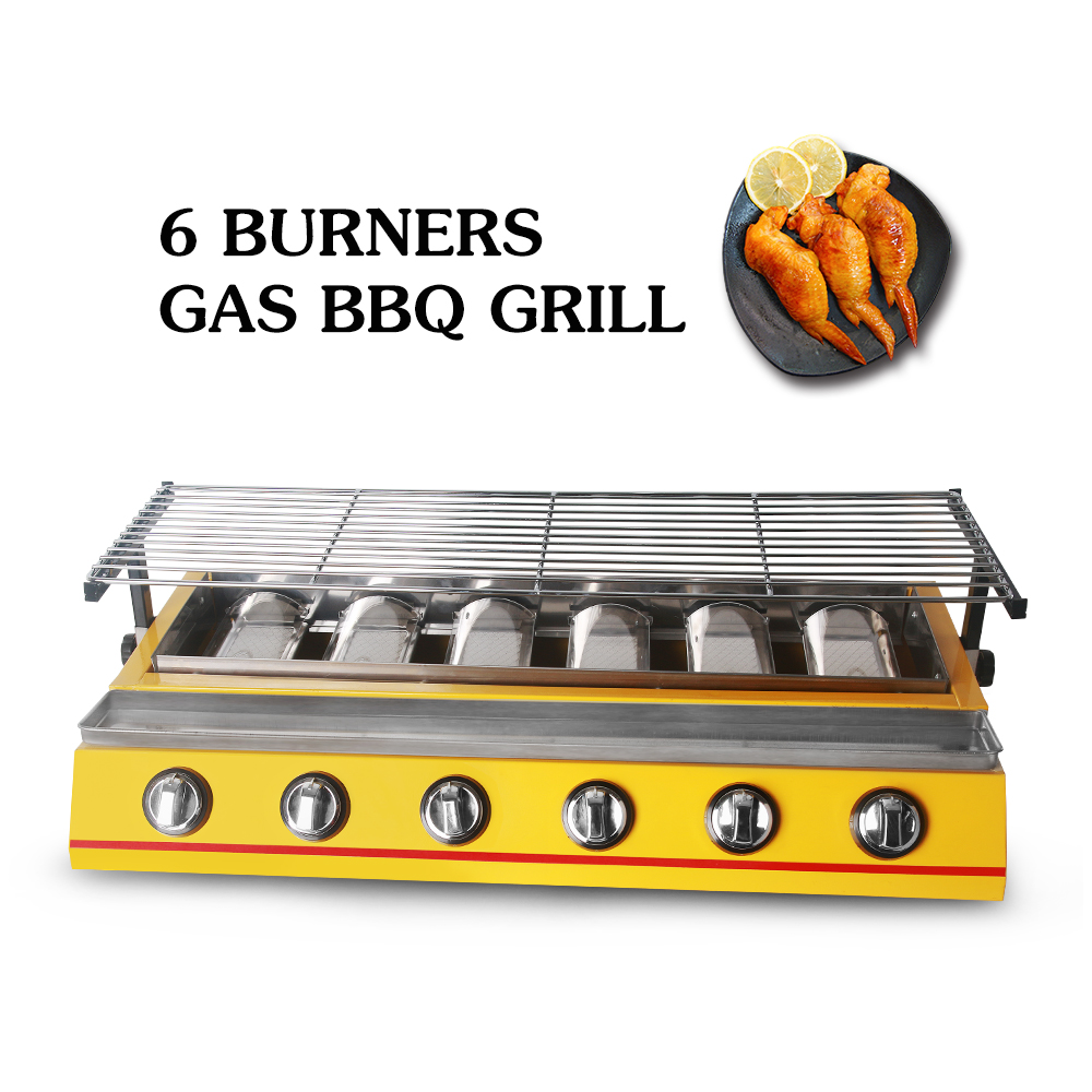 ITOP 6 Burners Gas BBQ Grills Non stick LPG Griddle Barbecue Grills For Outdoor Household Commercial Kitchen BBQ Tools-in Electric Grills & Electric Griddles from Home Appliances    2