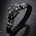 Atacado Moda de Nova jóias Vintage Crânio Pulseiras de Corda de Couro Sintético Preto de Aço Inoxidável Homens Pulseiras Cadeia Mão LPH845