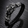 Wholesale New Fashion Vintage jewelry Stainless Steel Skull Bracelets Black Synthetic Leather Rope Hand Chain Men Bangles LPH845