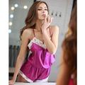 Lace Stitching Back Cross Straps Halter One Piece Pajamas Color Fuchsia And Blue