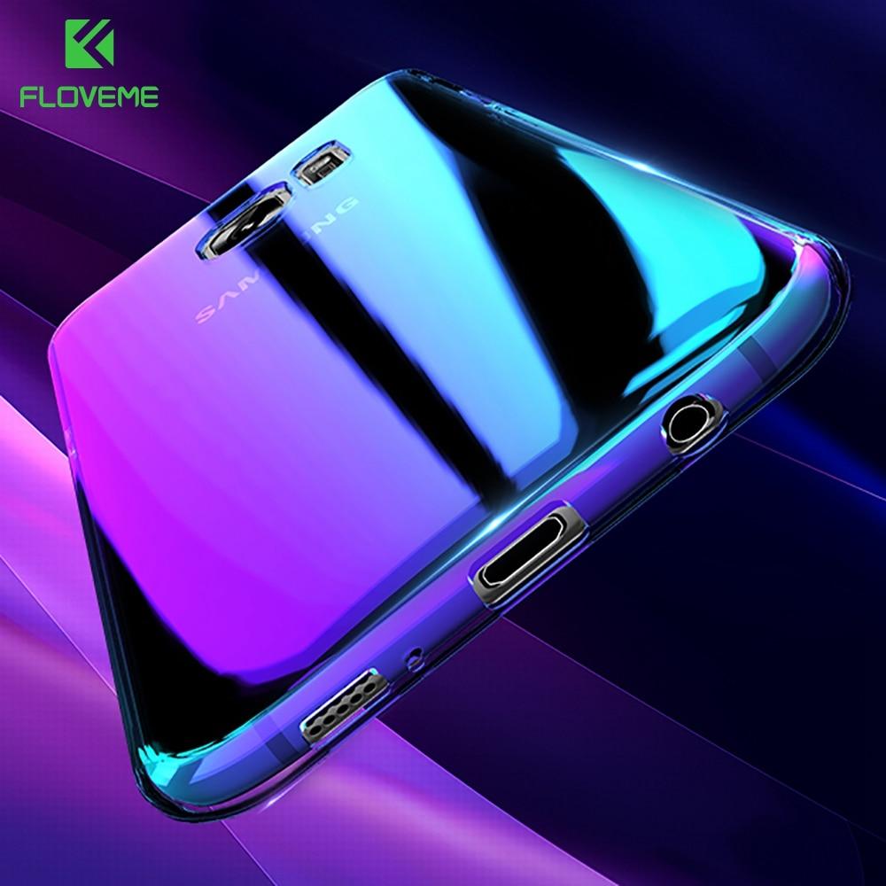 Floveme azul cubierta de la luz para samsung s8 case galaxy s8 plus gradiente au