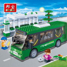 [small particles] buoubuou creative toy bricks puzzle toy car city bus station 8768 bus traffic