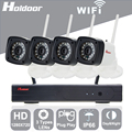 Holdoor 4ch nvr kit sistema de seguridad 720 p cámara ip inalámbrica de red de alambre a prueba de agua ip65 motion detect visión nocturna