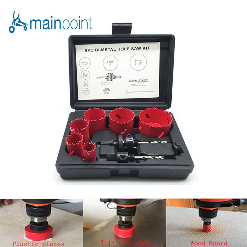 Mainpoint 9Pc HSS Bi-Metal Hole Saw Kit Drill Bit Power Accessorie Set 22-64mm Cutting Metal Steel Plastic Wood Sheet Hand Tools new 50mm concrete cement wall hole saw set with drill bit 200mm rod wrench for power tool