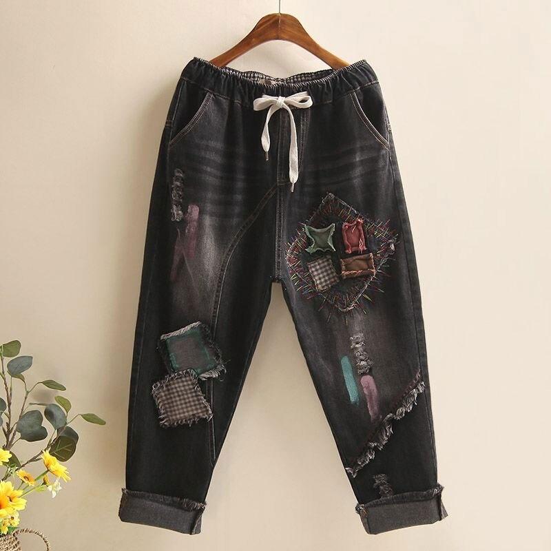 Spring Autumn Women Elastic Waist Denim Harem Pants Embroidery Patchwork Vintage Jeans Ladies Tassel Denim Pants Top Quality D99
