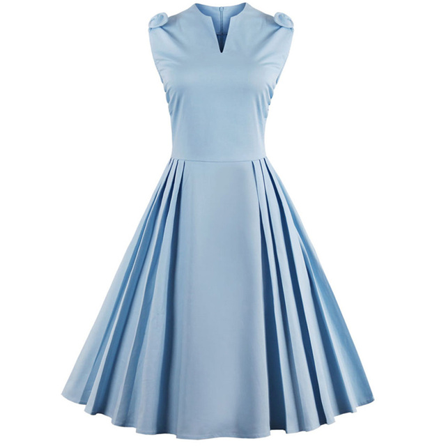 Vestidos Summer Retro Dress Pin Up 50s 60s Rockabilly Swing Party Dress Sleeveless Pleated Dresses Plus Size Women Clothes 4XL