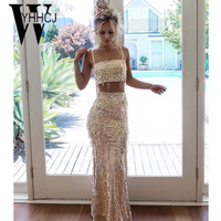 WYHHCJ 2018 Sexy Off Shoulder Summer Dress Strap Backless Bodycon Sequins Women Dress Sleeveless Two Pieces