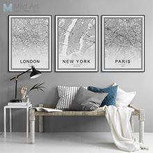 Black and White World City Map Paris London New York Poster Nordic Style Living Room Wall Art Picture Home Decor Canvas Painting(China)