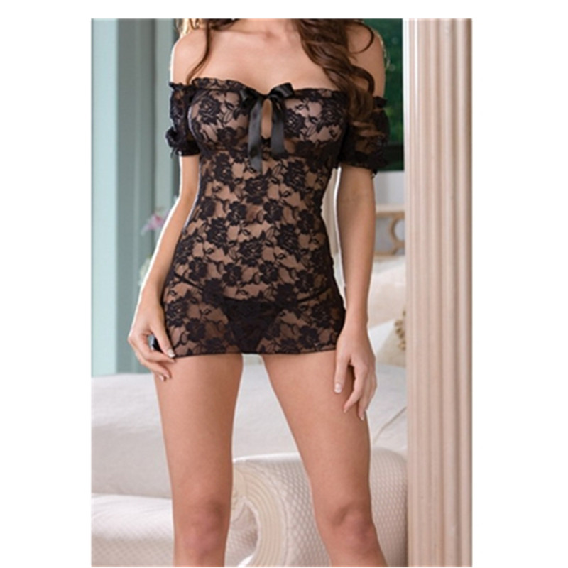 New sexy lingerie black lace perspective babydoll sexy Off Shoulder chemise dress+g string hollow out erotic lingerie nightwear
