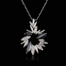 Emmaya Luxury Flower Crystal Pendants Necklaces For Women Black Rhinestone Fashion Charms Spring Jewelry Wholesale Gifts(China)