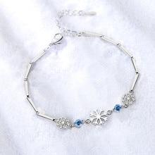 TJP Fashion 925 Sterling Silver Bracelets For Women Jewelry Charm Crystal Snowflake Blue Stone Girl Bracelet Accessories Female