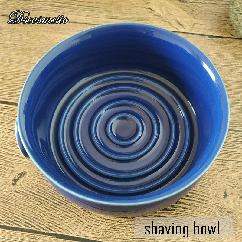Dscosmetic blue ceramic shaving lather bowl With Wide mouth for man wet shave us shaving soap bowl