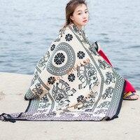 Для женщин шарф женский дизайнер мыс шарф шали слон печать высокого качества хлопка шарфы и палантины солнцезащитный крем обертывания