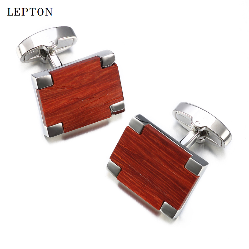 Newest Low-key Luxury Wood Cufflinks For Mens High Quality Lepton Jewelry Square Rosewood Cuff links Men Shirt Cuff Cuff links