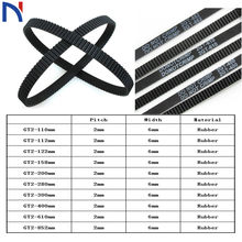 GT2 Closed Loop Timing Belt Rubber 2GT 6mm 3D Printers Parts 110 112 122 158 200 280 300 400 610 852 mm Synchronous Belts Part(China)