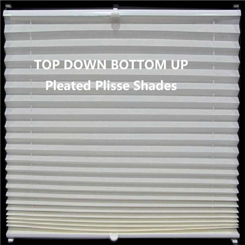 Popular Pleated Plisse Blinds Shades Curtain Top down bottom up Cordless Customized Sizes in Finished Product