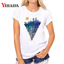 цены на Women T-shirt 3D Print Galaxy Mountain T Shirt Stylish Short Sleeve Plus Size White T-shirts Tops couple clothes camisas mujer  в интернет-магазинах