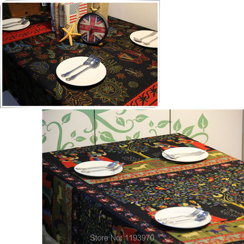 Indian Style Beautiful Lady Elephant Linen Cotton Table Cloth Restaurant  Party Rectangular Table Cover Square Tablecloth