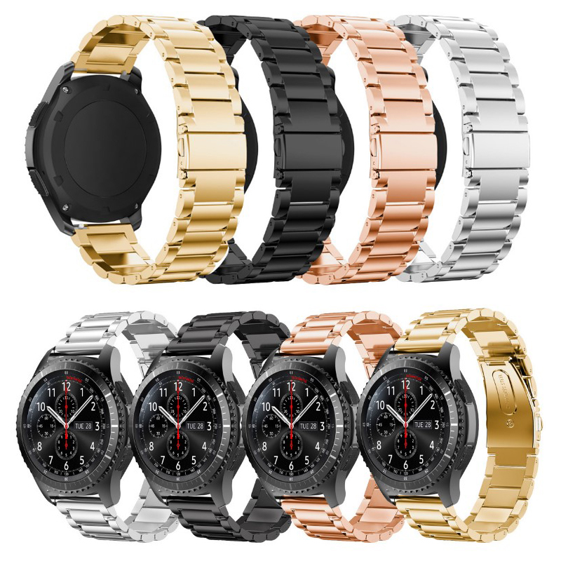 2017 New Stainless Steel Watch Band Bracelet Strap For Samsung Gear S3 Frontier / Classic Connector Adapter 22mm Black Rose Gold 2017 new stainless steel bracelet strap watch band milanese magnetic with connector adapter for samsung gear s2 watch band