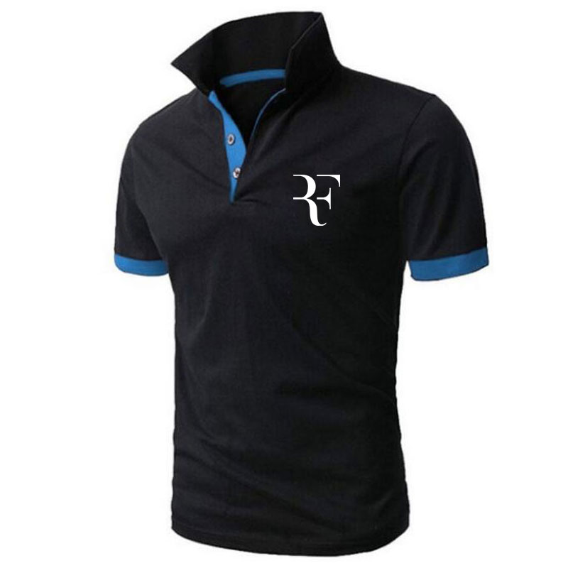 High Quality Men   Polo   Brand New Men RF roger federer   Polos   Short Sleeve Casual Business Work   Polo   shirt