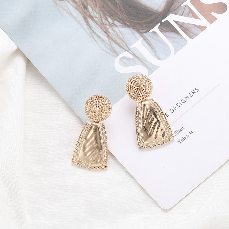 2019 Korea Ins Fashion Earring Metal Round Geometrically Mature Retro Irregular Sheet Ear Nail Clip Women Jewelry in Stud Earrings from Jewelry Accessories