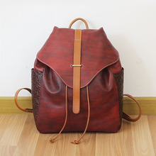 Brand Vintage 100% Genuine Cow Leather Womens Daily School Backpack IPAD Backpacks Rucksack for Travel Casual Mochila Masculina