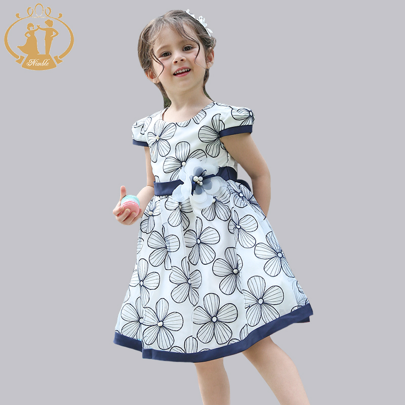Nimble clothes For Girls Cute Blue Flower Princess Party clothes Ball Gown vestidos moana new original lenovo thinkpad e130 e135 bottom case base cover palmrest upper case keyboard bezel with touch 00jt246 00jt244