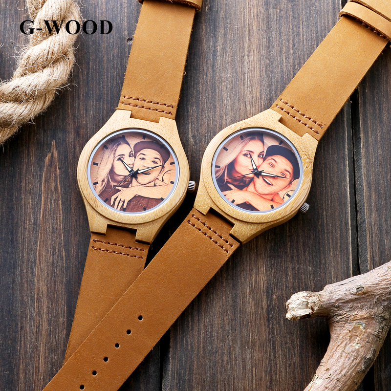 G-WOOD Custom Photo Couple's Wooden Watches 2018 Unisex Wood Bracelet - Балалардың сағаттары - фото 3