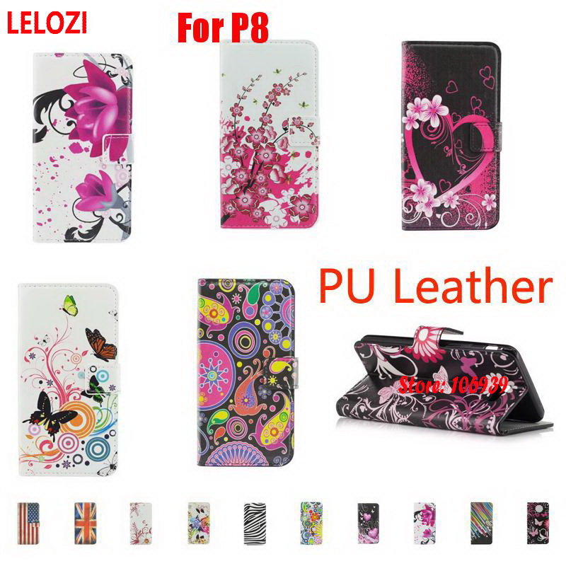 LELOZI Painted PU Leather Flip Lether Wallet Walet Wallt Case Capinha For Huawei P8 Heart New Zebra Blossom Butterfly Abstract