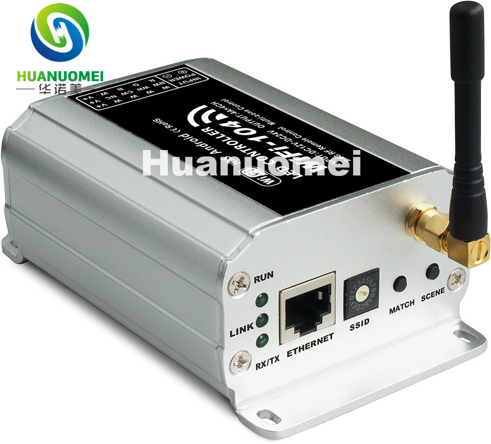 WiFi 104; LED wifi controller met 2.4 Ghz M12 remote; 2.4 GHz Wi Fi; ondersteunt max 12 zones controle; 4A x4CH Max 16A output