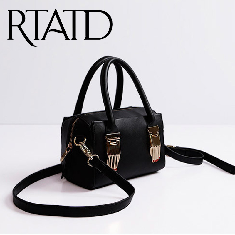 ФОТО RTATD New  leather women boston bag high chic brand design lady shoulder bag punk claw the buckle bags hot selling M2512