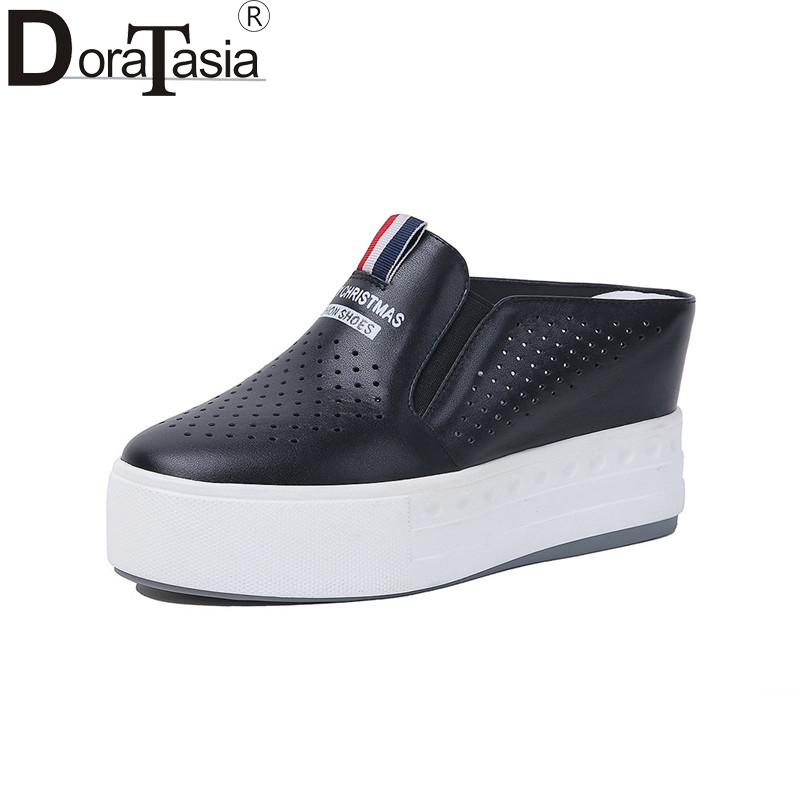DoraTasia Brand Design Genuine Leather Solid Flat Platform Shoes Woman Casual Spring Fashion Flats Black Big Size 33 40