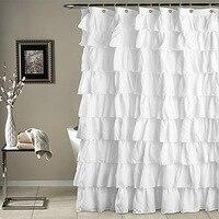 Ruffle Shower Curtain Polyester Fabric Cloth Curtains for Bathroom Bathing MYDING