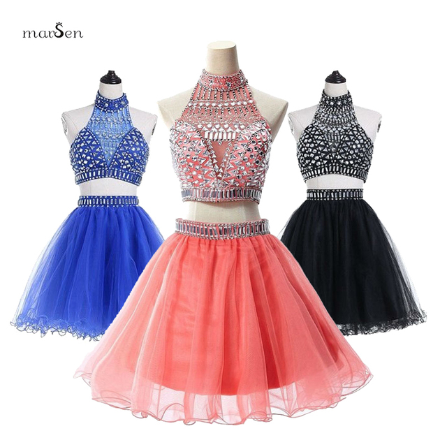 9438fa1d16 Halter Neck Two Piece Set Homecoming Dress Royal Blue Off shoulder Mini  Cocktail Dress Heavy Beads