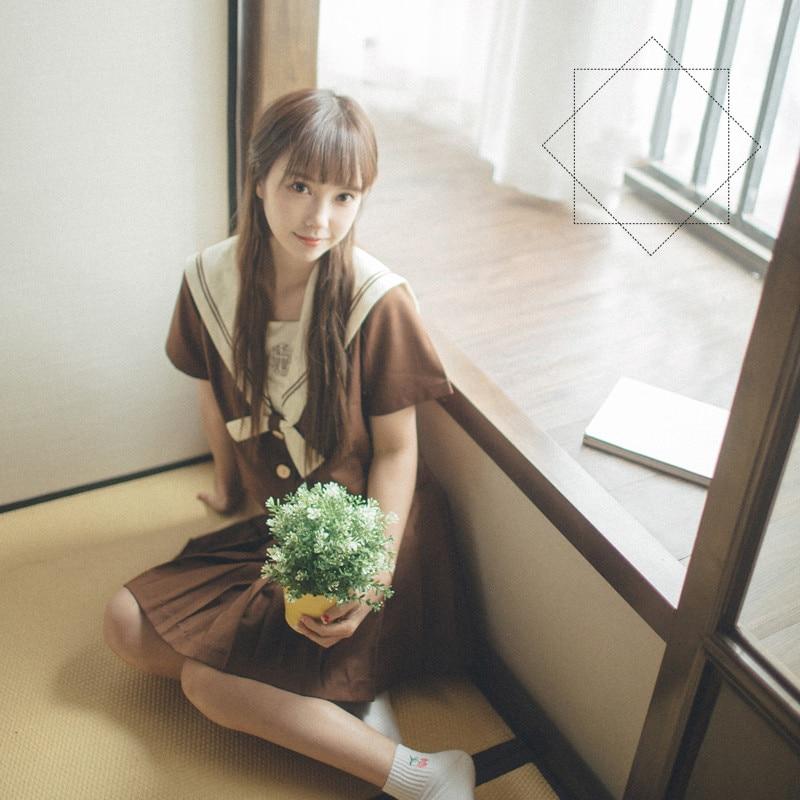 UPHYD Brown Japanese School Uniform Cosplay Japanese Korean Style Kawaii Girls Skirts Clothing Anime Cosplay