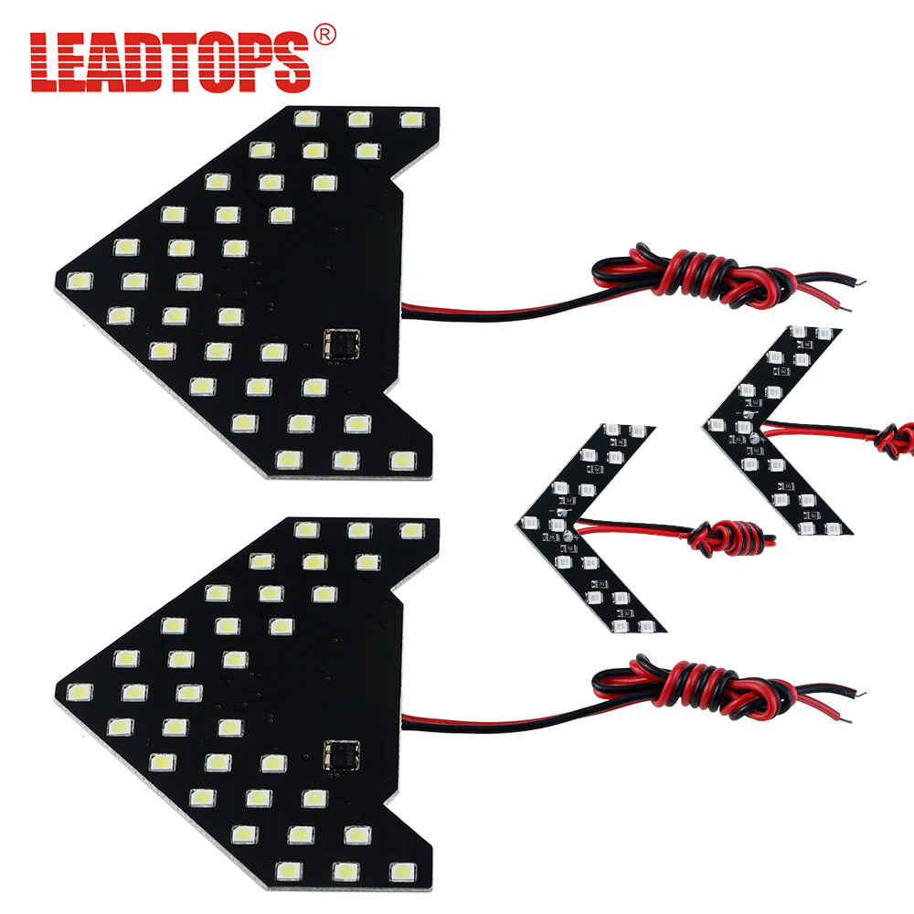 2PCS Car Turn Signal Light Parking Lamps 33/14 SMD LED Arrow Panels Light Side Mirror Indicator Sequential 5 Colors Flash AJ