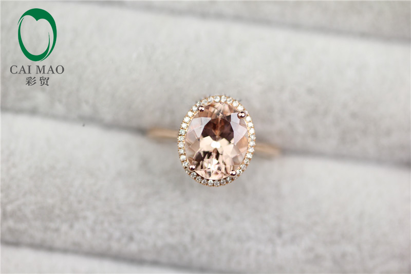 New Arrival 18K Rose Gold 2.32CT Flawless Oval Morganite & 0.17ct Pave Diamond Engagement Ring Free shipping new arrival fantastic natural tourmaline ring with dia in18kt rose gold engagement ring oval 10x12mm wu249